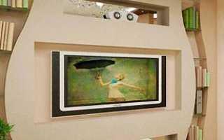 Стенка из блоков и гипсокартона под телевизор