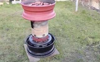 Печь для бани из тракторных дисков