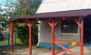 Строительство простого навеса к дачному дому