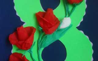 Открытка с цветами роз гофрированной бумаги своими руками